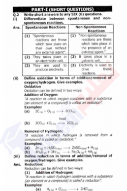 9th Chemistry Chapter-7 (Electrochemistry) PDF Notes