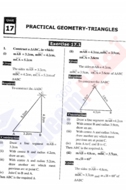 9th Mathematics Chapter-17 (Practical Geometry - Triangles) PDF Notes
