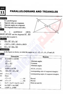 9th Mathematics Chapter-11 (Parallelograms & Triangles) PDF Notes